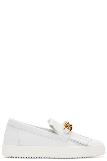 Giuseppe Zanotti - White Leather May London Fringed Sneakers