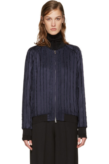 3.1 Phillip Lim - Navy Fringed Bomber Jacket