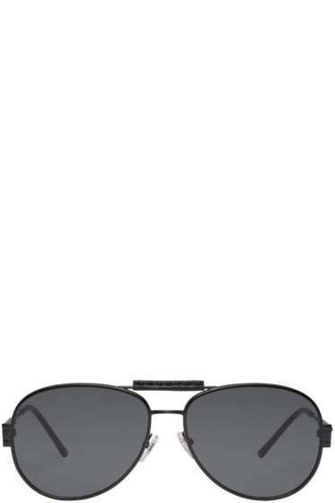 Versace - Black Flat Aviator Sunglasses