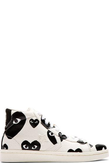 Comme des Garçons Play - White & Black Heart Print Converse Pro Edition Sneakers
