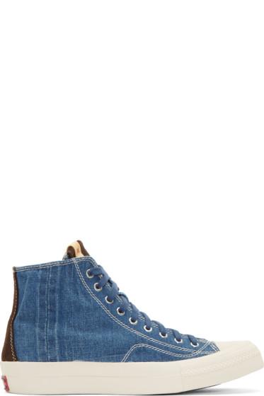 Visvim - Blue Denim Skagway High-Top Sneakers