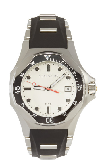Givenchy - SIlver & Black Five Shark Watch