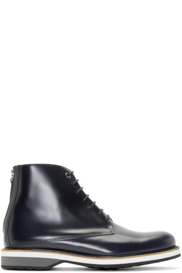 Want Les Essentiels - Navy Leather High-Top Montoro Derbys