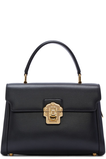 Dolce & Gabbana - Black Iguana-Embossed Lucia Bag