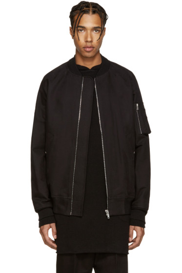 Rick Owens - Black Cotton Bomber Jacket