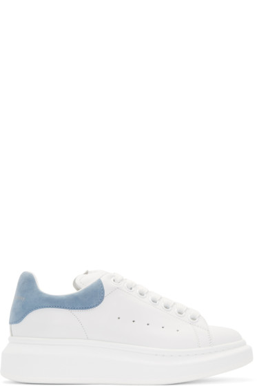 Alexander McQueen - White & Blue Oversized Sneakers