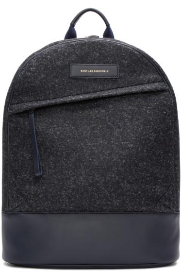 Want Les Essentiels - Navy Wool Kastrup Backpack