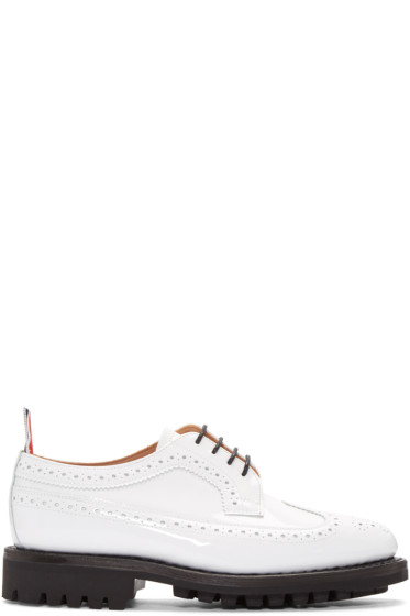 Thom Browne - White Patent Classic Longwing Brogues