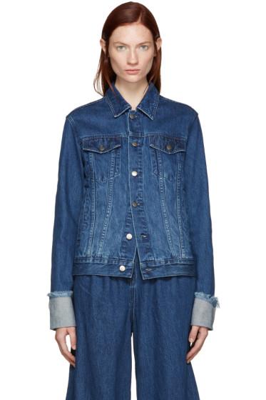 Edit - Blue Denim Turn Up Sleeve Jacket