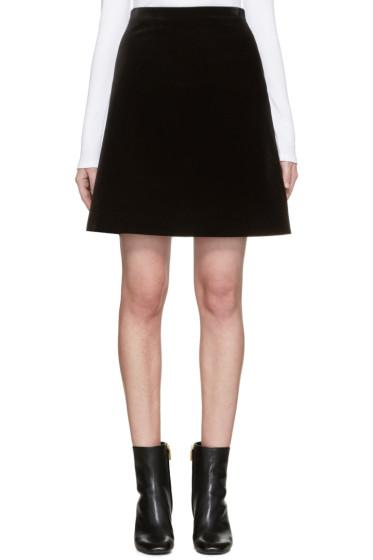 Rosetta Getty - Black Velvet A-Line Skirt