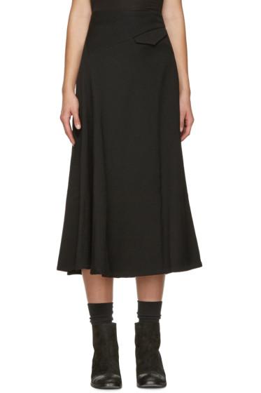 Y's - Black O-Oblique Asymmetric Skirt