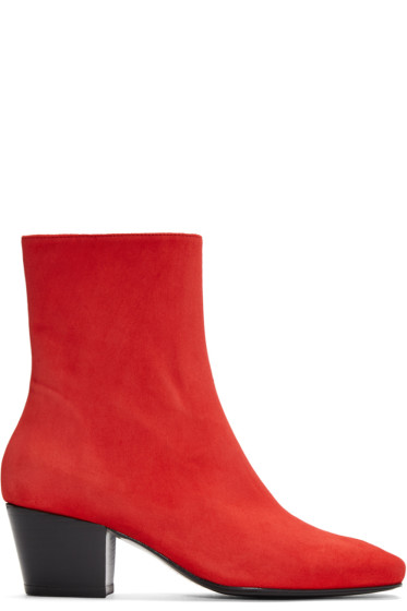 Dorateymur - Red Suede Droop Nose Boots