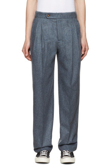 Éditions M.R  - Grey Pleated Wool Trousers