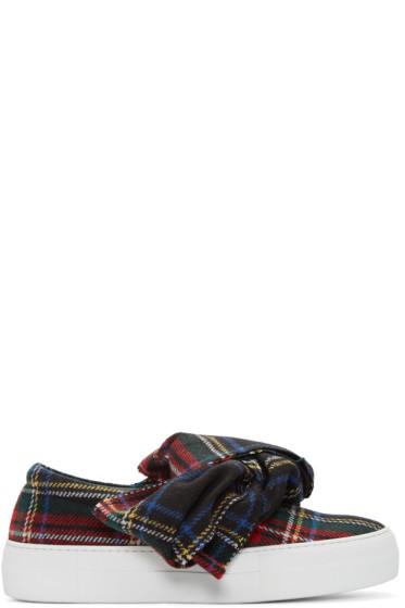 Joshua Sanders - Black Tartan Bow Slip-On Sneakers