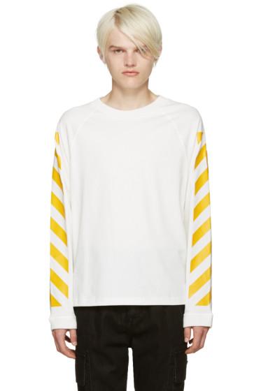 Moncler O - White Striped Sleeves T-Shirt