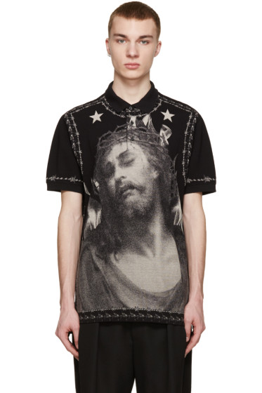 Givenchy - Black Piqué Jesus Polo