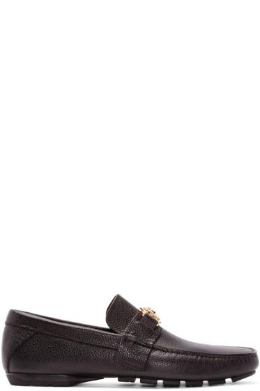 Versace - Black Leather Medusa Loafers