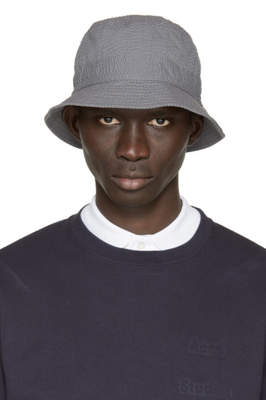 Moncler Gamme Bleu - Grey Seersucker Bucket Hat