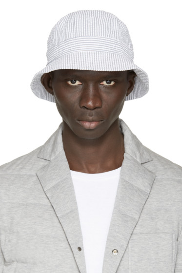Moncler Gamme Bleu - White & Grey Seersucker Bucket Hat