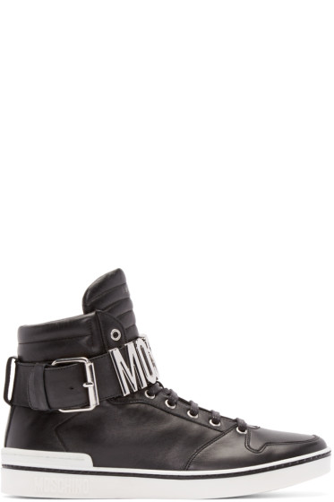 Moschino - Black Leather Logo High-Top Sneakers