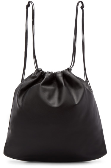 Tsatsas - Black Leather Drawstring Xela Backpack