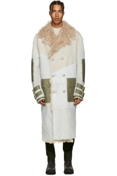 Diesel - Off-White Oversized Shearling Jacket