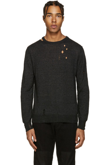 Diesel - Black Distressed K-Ideo Sweater