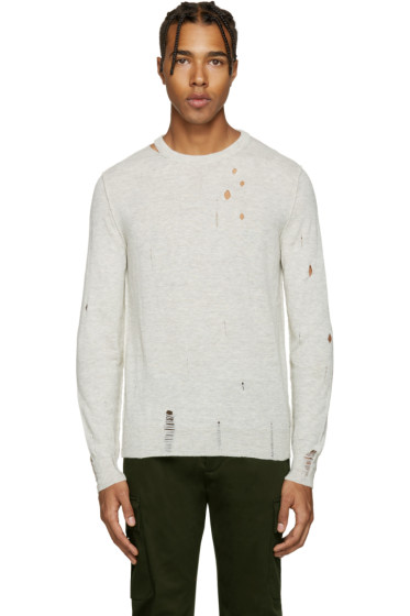 Diesel - Grey Distressed K-Ideo Sweater