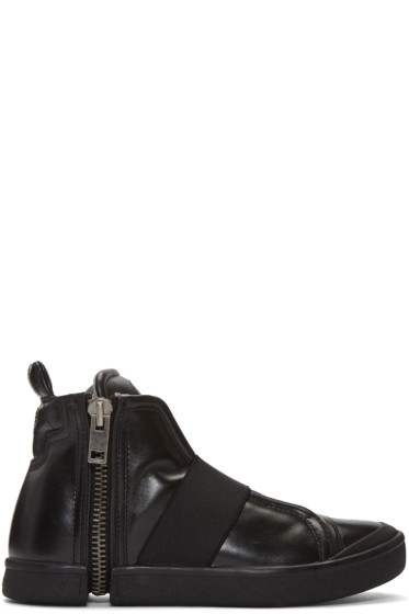 Diesel - Black S-Nentish Strap High-Top Sneakers