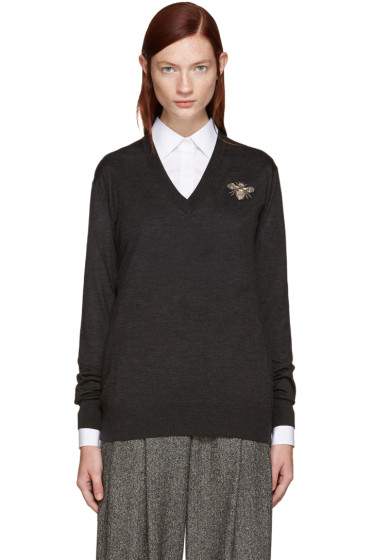 Dolce & Gabbana - Grey Embroidered Sweater