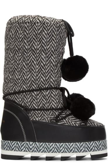 Dolce & Gabbana - Black & White Fur Pom Pom Moon Boots