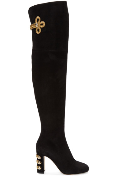 Dolce & Gabbana - Black Suede Over-the-Knee Boots