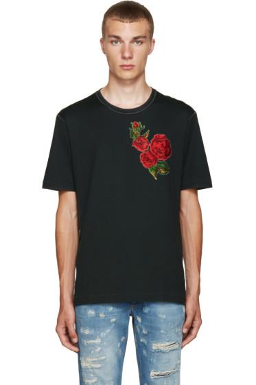 Dolce & Gabbana - Green & Red Flower T-Shirt