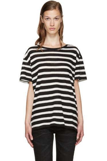 R13 - Black & Ecru Striped Boy T-Shirt