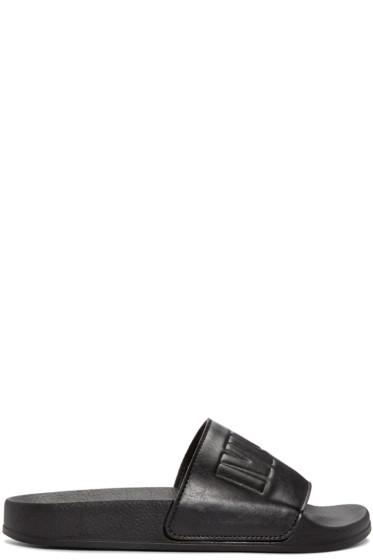 McQ Alexander Mcqueen - Black Leather Slides