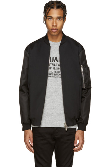 Dsquared2 - Black Wool Bomber Jacket