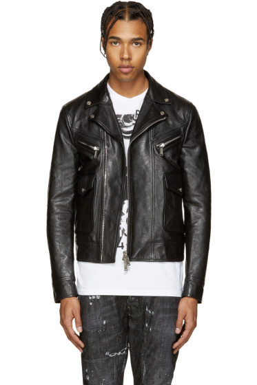 Dsquared2 - Black Leather Kiodo Biker Jacket