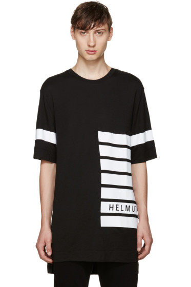 Helmut Lang - Black Striped Logo T-Shirt