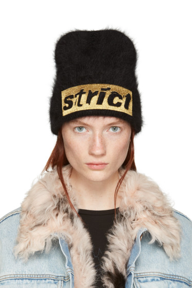 Alexander Wang - Black Angora 'Strict' Beanie