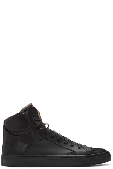 MM6 Maison Margiela - Black Nappa Calfskin High-Top Sneakers