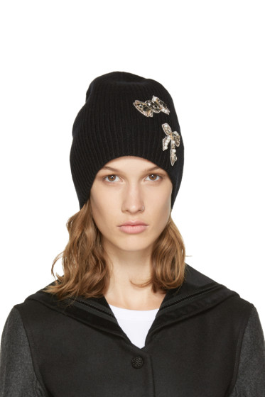 Marc Jacobs - Black Cashmere Embellished Beanie