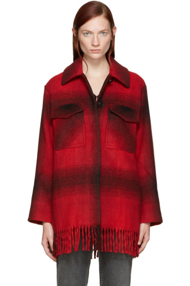 T by Alexander Wang - Red Oversized Plaid Coat