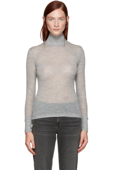 T by Alexander Wang - Grey Ribbed Wool Turtleneck