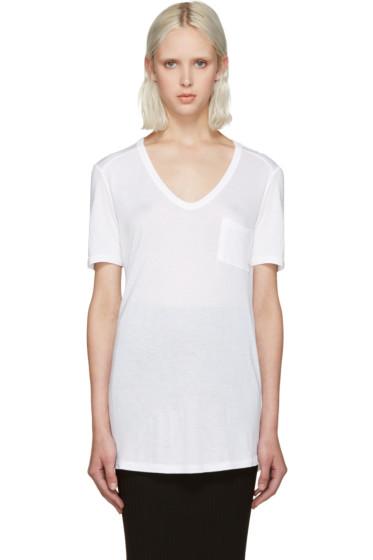 T by Alexander Wang - White Jersey Pocket T-Shirt