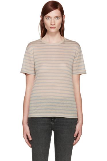 T by Alexander Wang - Beige & Grey Jersey T-Shirt