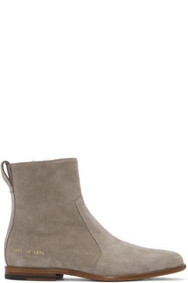 Robert Geller - Grey Common Projects Edition Suede Boots