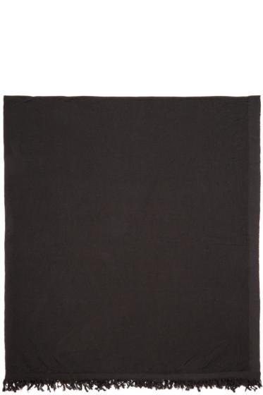 Rick Owens - Black Merino Wool Blanket Scarf
