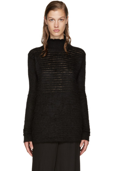 Rick Owens - Black Mohair Screen Turtleneck