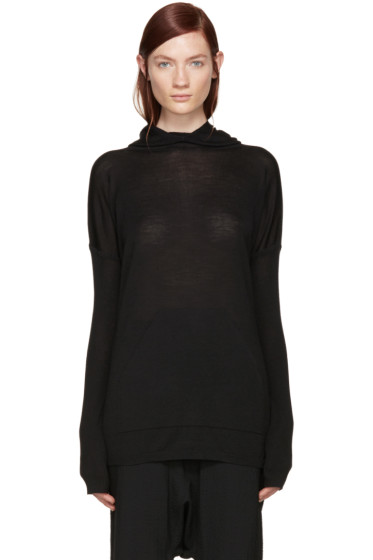 Rick Owens - Black Wool Hooded Poncho