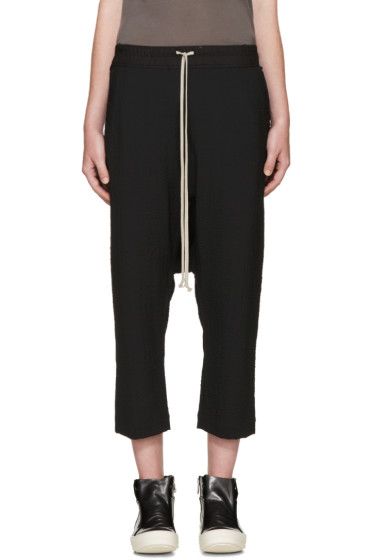 Rick Owens - Black Cropped Kisswool Lounge Pants